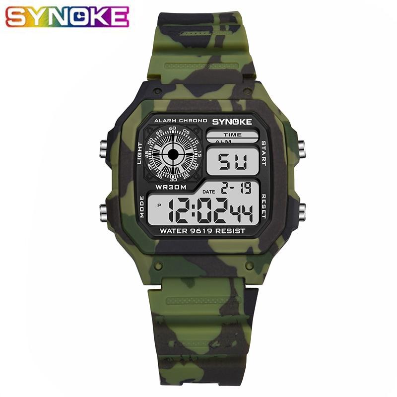 SYNOKE Military Sport Kids Watches Camouflage Waterproof Electronic Wristwatch Stop Watch Clock Children Boys Digital Watch