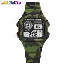 SYNOKE военные спорт дети часы камуфляж водонепроницаемость электроника наручные часы секундомер часы часы дети мальчики цифровые часы