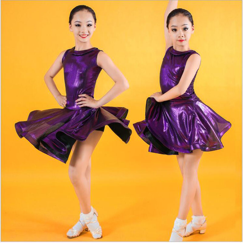 Kid Purple Sleeveless Modern Jazz Salsa Latin Ballroom Dance Dresses Girl Dance Clothes Dancing Competition Costume Wear Outfits