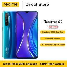 Realme X2 сотовые телефоны 8 ГБ 128 6,4 ''64MP сзади Камера Snapdragon 730 Octa Core 30 Вт VOOC быстрая Зарядное устройство 4000 мА/ч, мобильный телефон