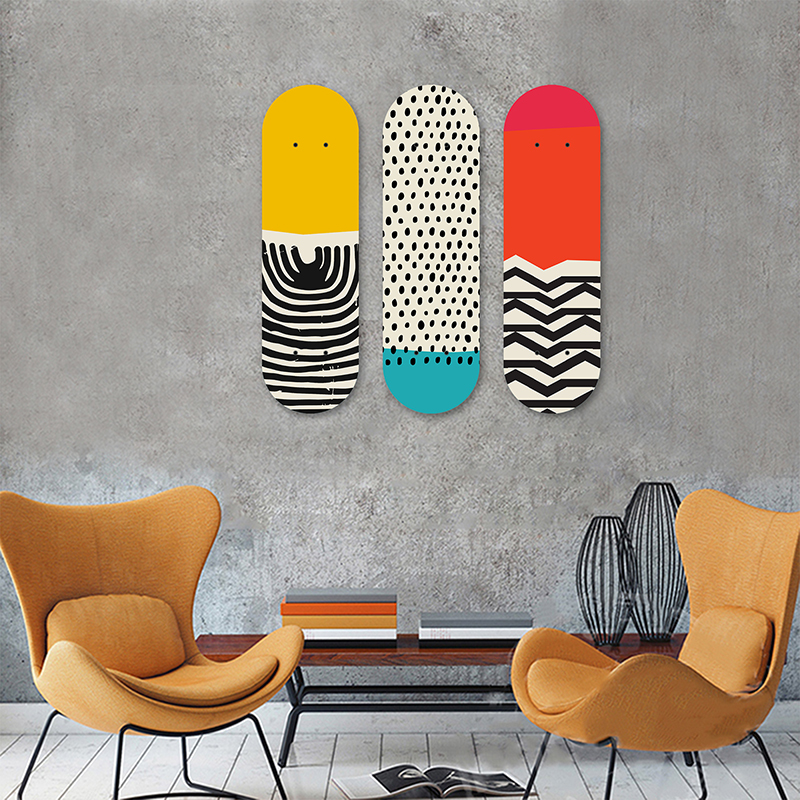 Multicolored Abstract Geometric Skateboard Wall Art Collection Skate Deck Mural Decorative Boards ]Wooden Panels for Home Decor