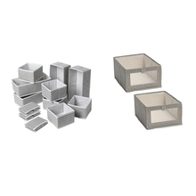 AFBC 14 Pcs Foldable and ECO-Friendly Storage Boxes Square Non-Woven Storage Box,28X14X10Cm & 14X14X10Cm & 27X39.5X17Cm