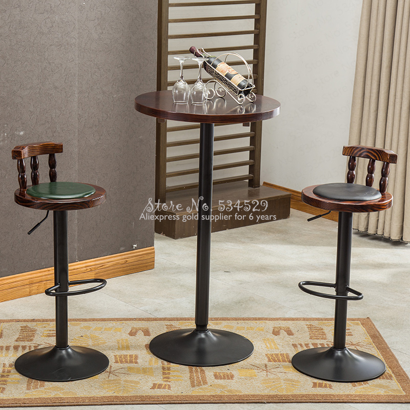 30%B American Bar Table And Chair Combination Retro High Stool Table Combination Coffee Shop Solid Wood Table Leisure Bar Stool