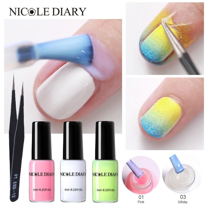 NICOLE DIARY Peel Off Liquid Tape Form Nail Polish Protection Finger Skin Cream Whit Latex Protected Glue Easy Clean Nail Polish