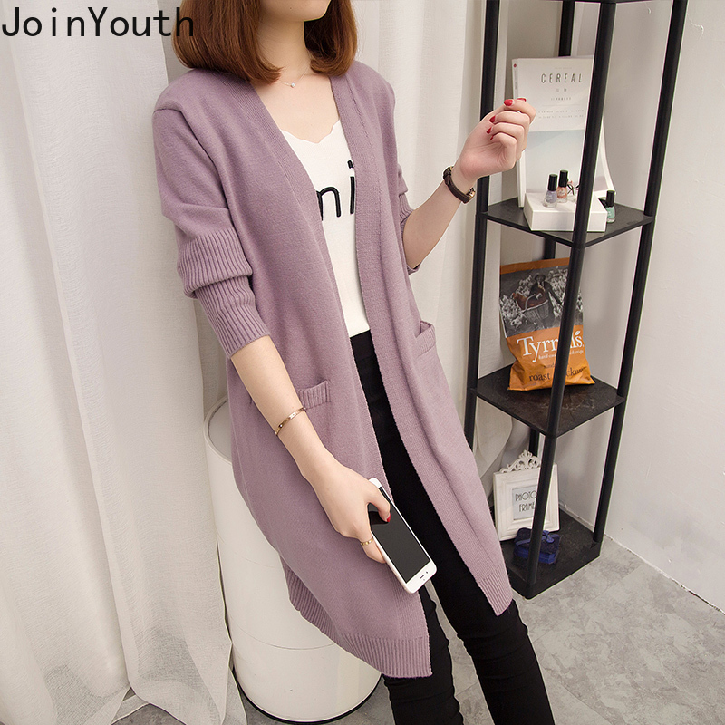 JoinYouth Long Cardigans Solid Casual Pockets Korean 2020 Autumn Sweaters Women All Match Outwear Fashion Sueter Mujer J298
