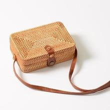Fashion Women Summer Rattan Bags Round Square Straw Bag Handmade Woven Beach Crossbody Circle