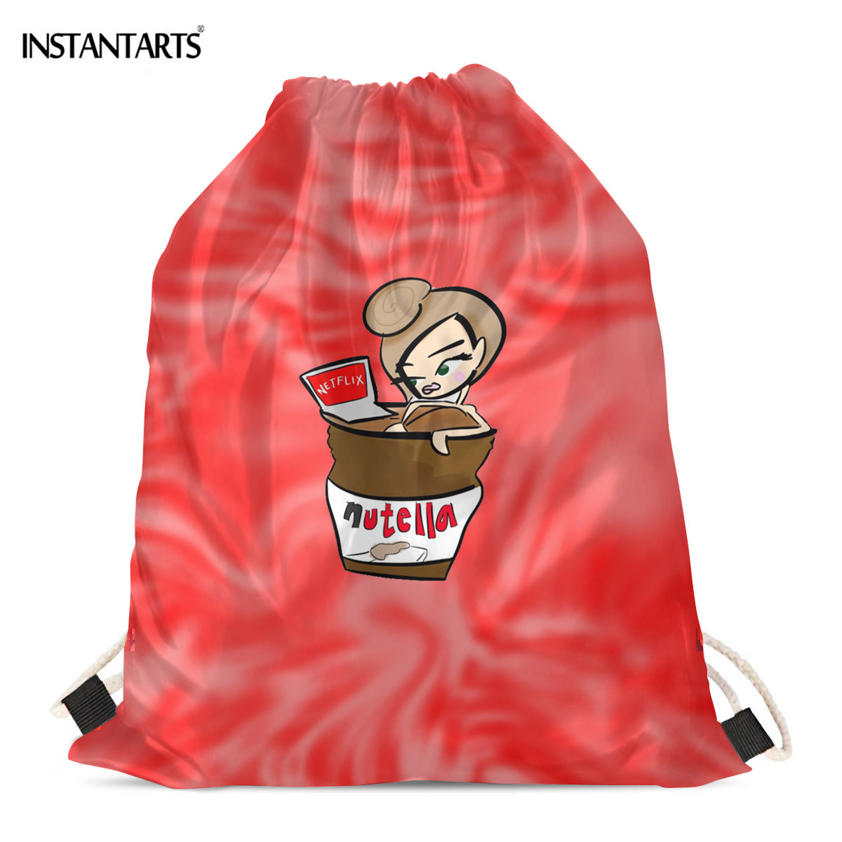 INSTANTARTS Cartoon Funny Nutella Women Print Drawstrings Bag Light Weight Shopping Bags Girls Casual Shoulder Backpack Gymsack