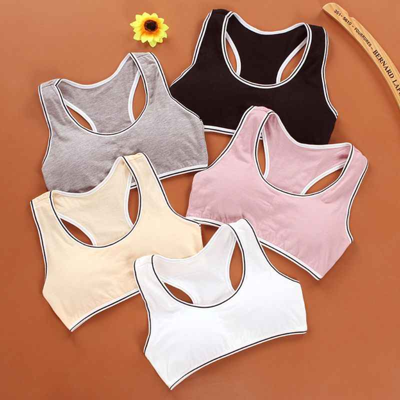 Junior Girl Wide Strap Racerback Sport Training Bra Solid Color Striped Trim Underwear Wireless Padded Bralette Casual Yoga Vest