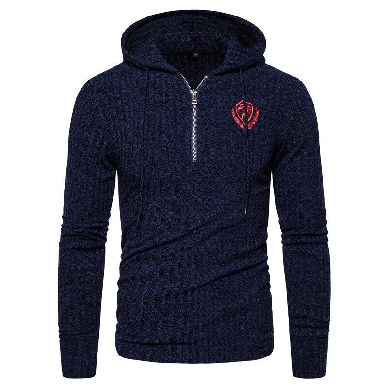 2020 New Sprint Eagle Embroidery Hooded Sweatshirt Men Sporting Zipper Streetwear Sweatshirts Hip Hop Elasticity Hoodies Men