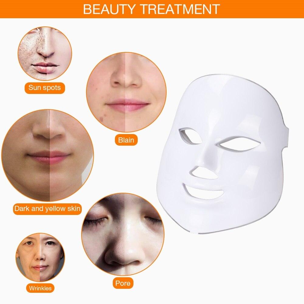 Image 3 - 7 colores Led máscara Facial belleza cuidado de la piel rejuvenecimiento arrugas eliminación de acné Facial terapia de belleza blanqueamiento instrumento de ajuste-in Máscara LED from Belleza y salud on AliExpress