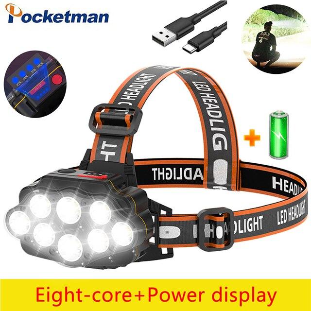 Most Bright 8 LED Headlight USB Rechargeable Headlamp High Lumen Head Lamp Light Waterproof Head Torch 70000Lumens Headlamps 1