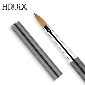 Image 3 - Art nails pędzelek do zdobień rhinestone diamentowy metalowy akrylowy uchwyt carving powder Gel liquid Salon Liner nails brushes with cap