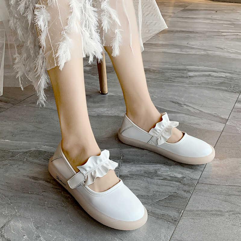 2019 nuevos zapatos planos femeninos con interior de mujer primavera otoño Slip-on señora zapatos de talla grande punta redonda Mujer zapatos blanco y negro
