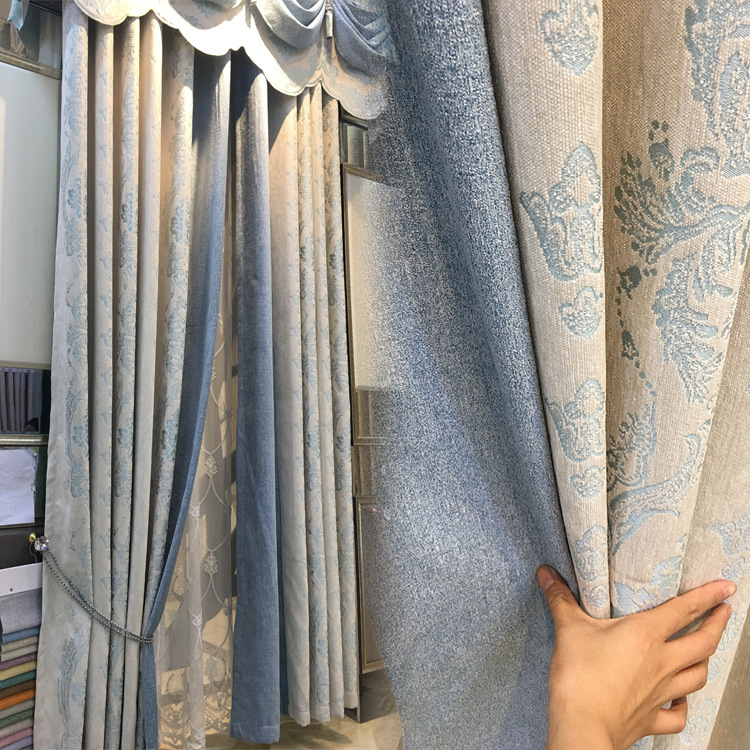 New European Chenille Jacquard Fabric Modern Curtains for Living Dining Room Bedroom Luxury Blackout Curtains