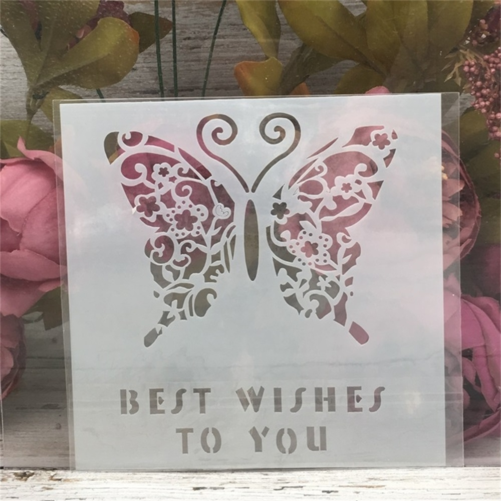 15*15cm Best Wishes Butterfly DIY Layering Stencils Wall Painting Scrapbook Coloring Embossing Album Decorative Template