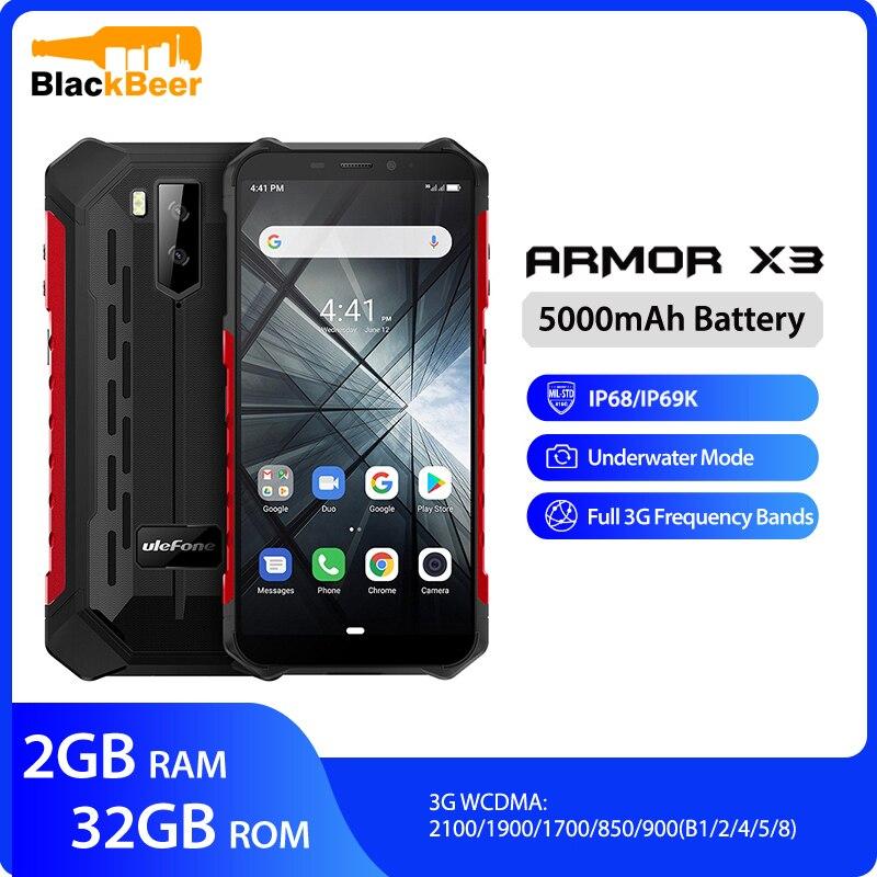 """Osłona Ulefone X3 5.5 """"telefon komórkowy HD IP68 wytrzymały wodoodporny smartfon Android 9.0 czterordzeniowy 2G 32G, proszę kliknąć na 5000mAh telefon komórkowy"""