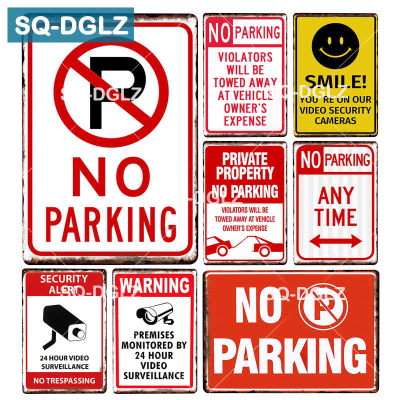[SQ-DGLZ] Security Metal Sign Bar Wall Decor Tin Sign Vintage Home Decor Painting Plaques NO Parking Art Blackboard Poster