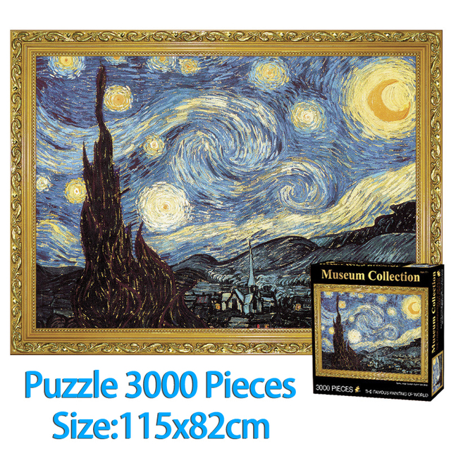 jigsaw puzzle 3000 pieces adult world famous Starry Night Thicker Jigsaw puzzle oil painting Adult challeng Puzzle children toys