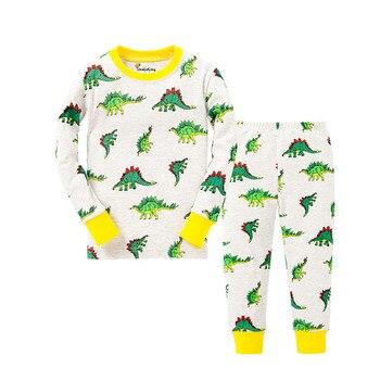 100 Cotton Boys and Girls Long Sleeve Pajamas Sets Children's Sleepwear Kids Christmas Pijamas Infantil Homewear Nightwear - P030, 2T