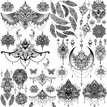 YURAN Women Girl Big Arm Owl Fake Tattoo Temporary Mandala Flower Henna India Tatoo Stickers Custom Black Turtle Tattoos Girls 1