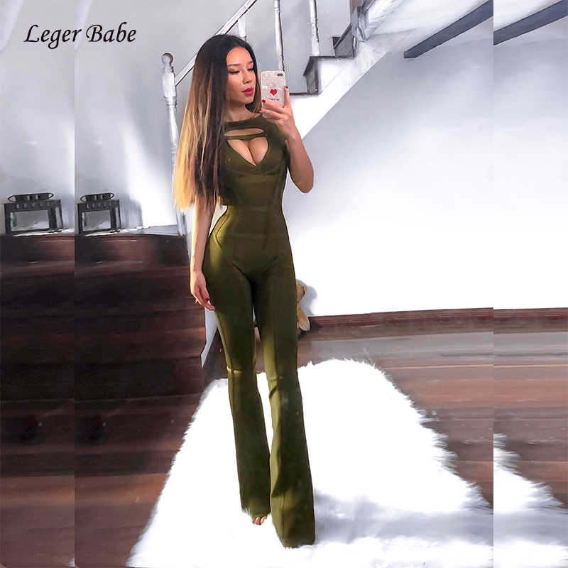 Groen Zwart Vrouwen Bandage Jumpsuits Sexy Hollow Out V-hals Off Shoulder Mouwloze Jumpsuits Boot Cut Celebrity Party Club Gown
