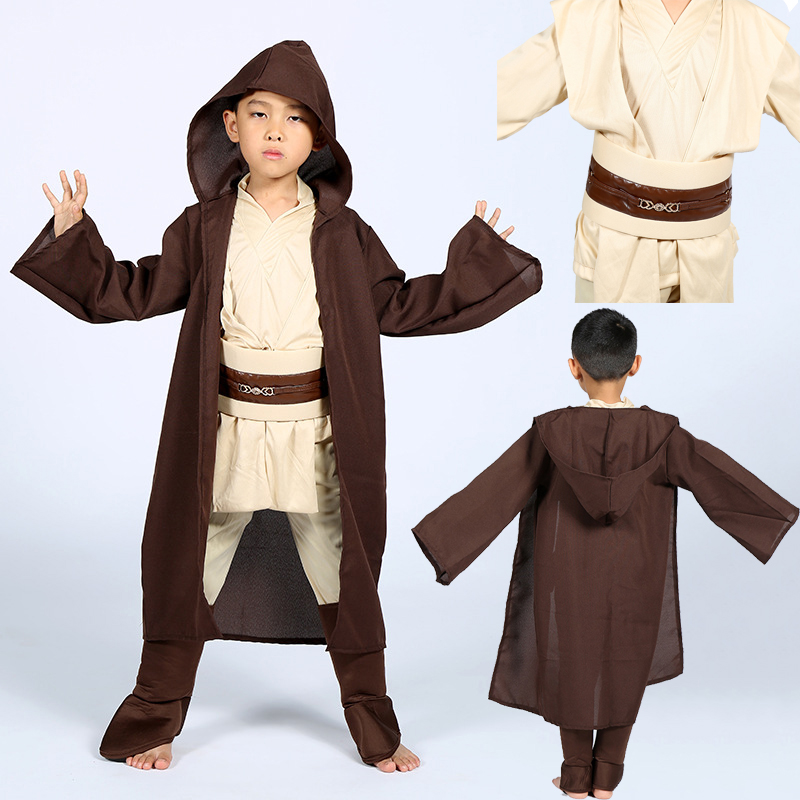 Fashion Boys Star Wars Deluxe Jedi Warrior Movie Character Cosplay Party Clothing Kids Fancy Halloween Purim Carnival Costumes