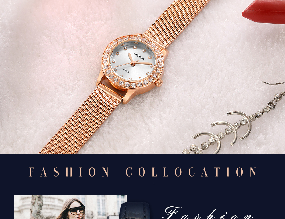 MEGIR Women Watch Fashion Quartz Watches Lady Blue PU Watchband Casual 3ATM Waterproof Wristwatch Gift for Girl Wife Woman 2019