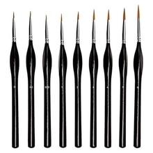 9Pcs Detail Paint Brush Set Miniature Fine Painting Brushes Artist Detail Paint Brush for Acrylic, Nail, Watercolor