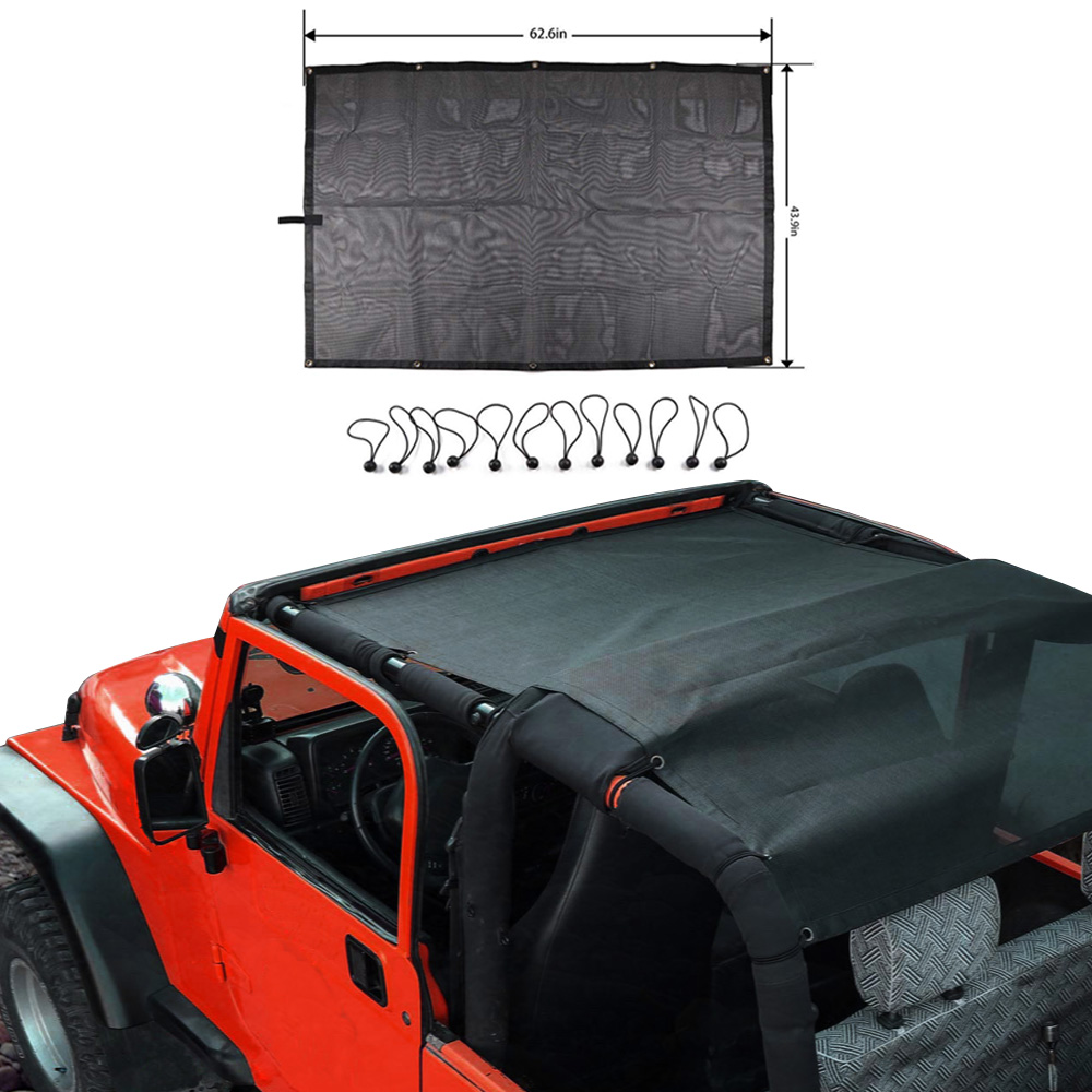 Sunshade UV Protection Mesh Shade Cab Bikini Top For 1997-2006 Jeep Wrangler TJ 2 Door And 1987-1999 YJ In Black Flag