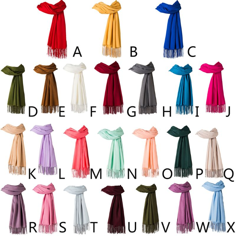 200x70cm  Girls Pashmina Candy Solid Color Scarf With Fringe Tassels Autumn Winter Soft Warm Long Slim Shawl Blanket Wraps  NEW