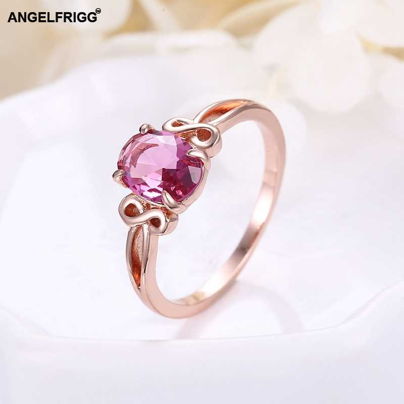 ANGELFRIGG Classic Rose Gold Rings With AAA Pink CZ For Women Engagement Wedding Party Jewelry Gift Accessories