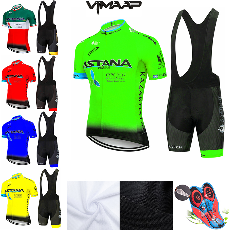 New 2020 Green Astana Cycling Team Jersey 9D Bike Shorts Set Quick Dry Mens Bicycle Clothes Team Pro BIKE Maillot Culotte