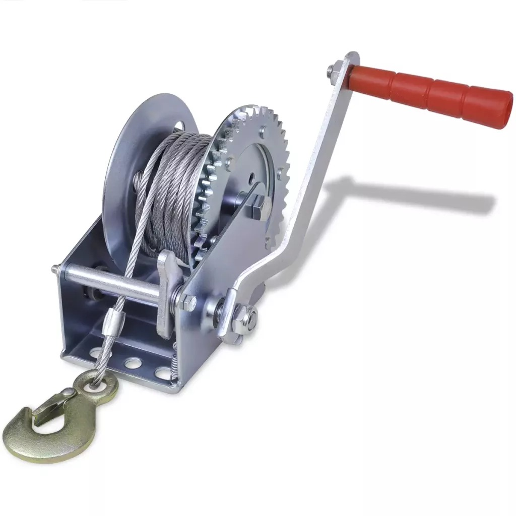 VidaXL Hand Winch 544 Kg / 1200 Ibs 24 X 24 X 15 Cm High-Quality Hand Winch Ideal Tool For Pulling Lifting Large Heavy Item