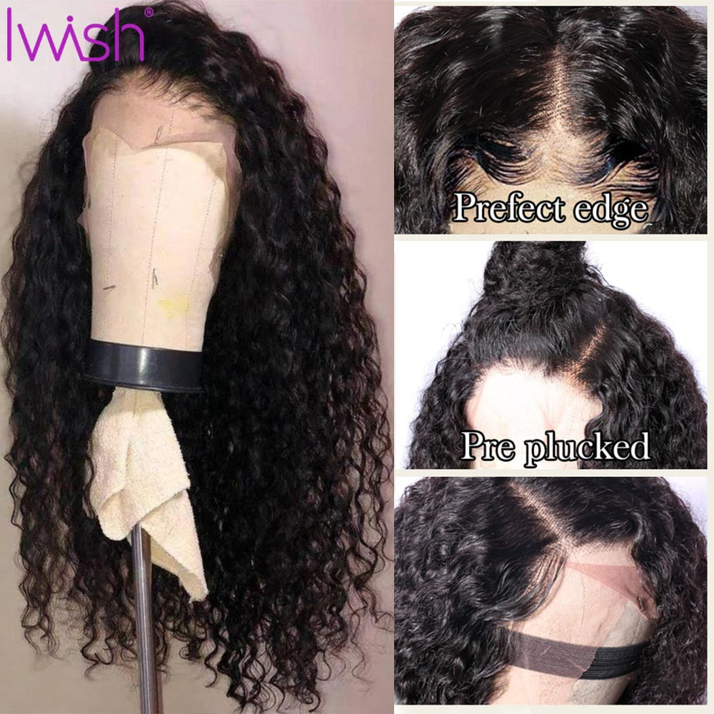 Iwish Lace Front Human Hair Wigs For Black Women Remy 13x4'' 150% Front Brazilian Wig Pre Plucked With Baby Hair Deep Wave Wig