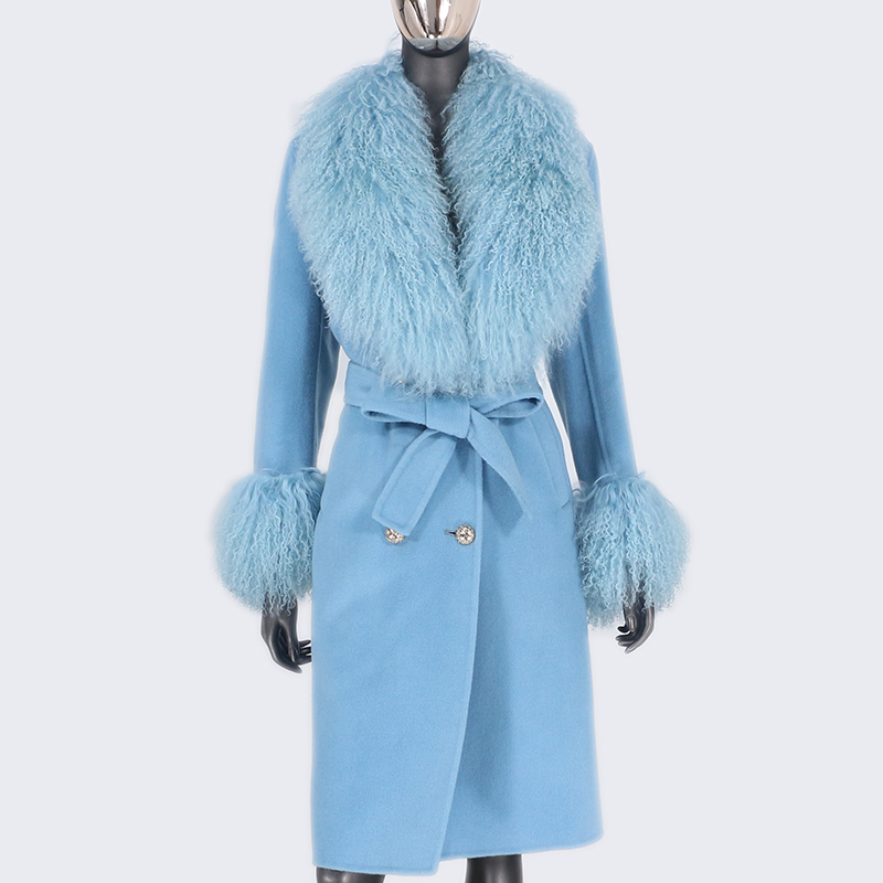 H19fd8450c0874140ad78eedb4c5778d9V 2021X-Long Natural Mongolia Sheep Real Fur Coat Autumn Winter Jacket Women Double Breasted Belt Wool Blends Overcoat Streetwea