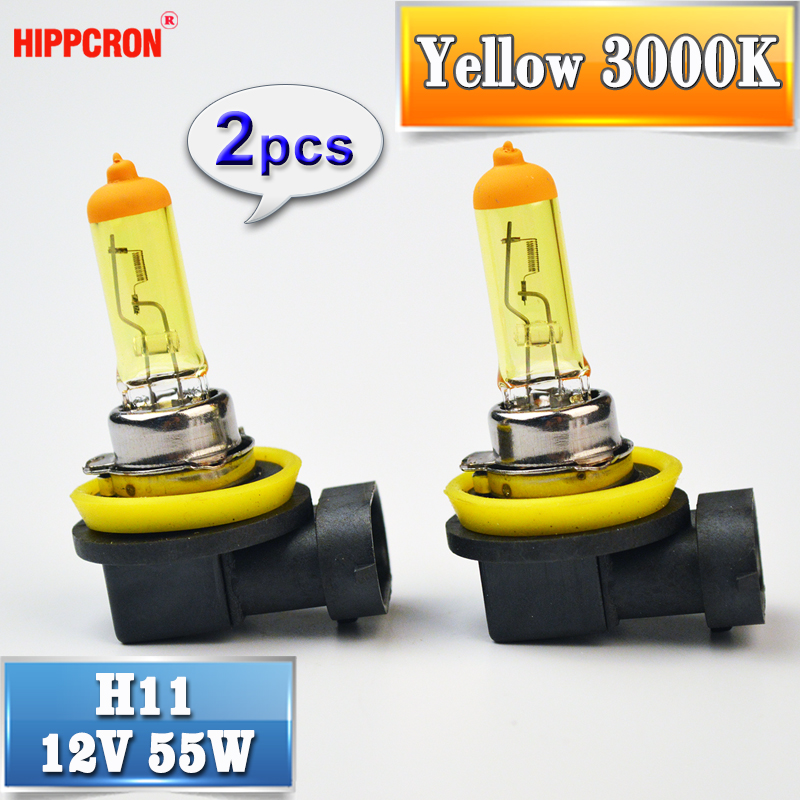 Hippcron H11 галогенные лампы желтый 2 шт 12В 55 Вт 3000 К кварцевые Стекло лампы для передних автомобильных PGJ19-2 Противотуманные фары Дневные Фары Св...