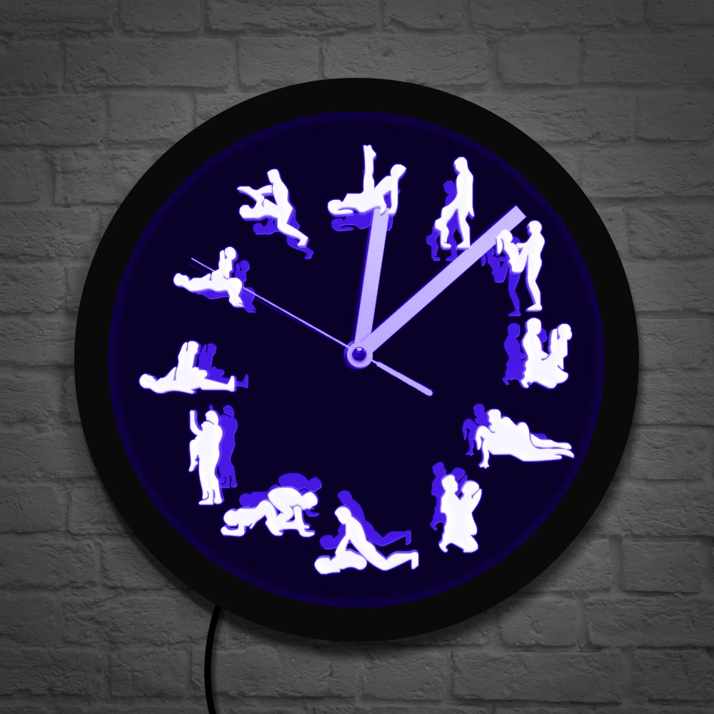 Night Club LED Neon Wall Clock Sex Positions Wall Decor Luminous Wall Clock Lighting Mature Wall Watch Bachelorette Adult Gfit(China)