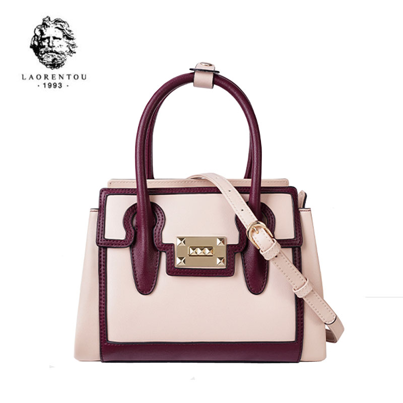 LAORENTOU 2020 New Women Genuine Leather Bag Stitching fashion luxury handbags women bags designer leather bag leather tote bag