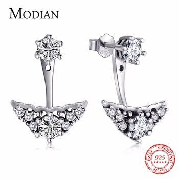 MODIAN Authentic 925 Sterling Silver fairy tale Crown vintage Drop Earrings Cubic Zirconia luxury Earring For Women Wedding