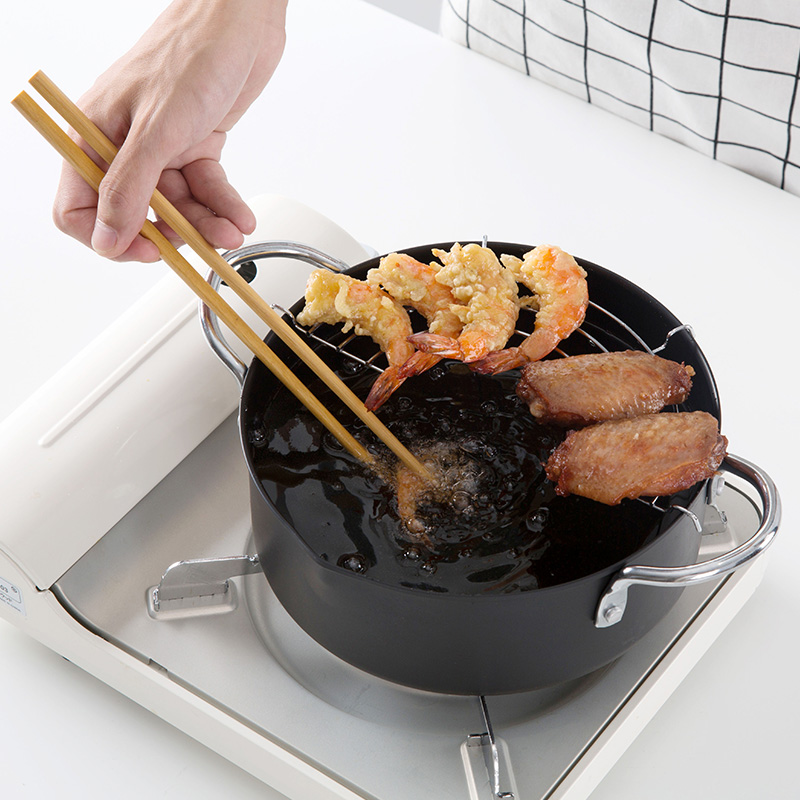 1PC Small Kitchen Oil Frying Pots Non stick Oil Pan Iron Pot Induction Cooking Pan With A Free Oil Filter Rack