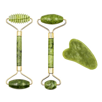 Facial Massage Roller Plate Guasha Board Double Heads Slimming Face Lifting Massager Natural Jade Stone Eye Neck Thin Care Tool 1