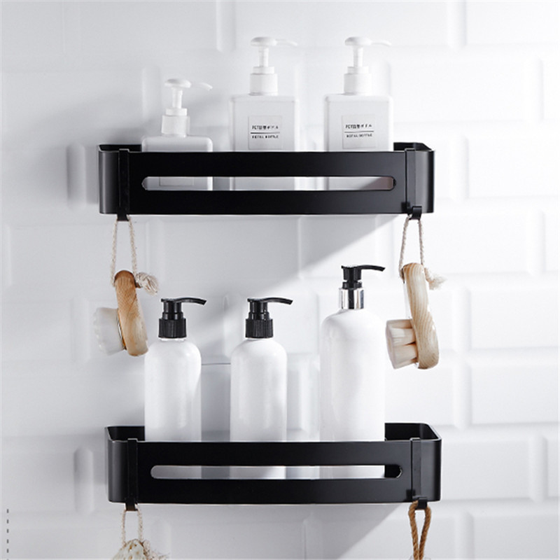 Bathroom Shelf Black Aluminum Shower Shampoo Soap Cosmetic Shelves Bathroom Accessories Hook Wall Rack Storage Organizer Rack