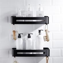 LIUYUE estantes de baño de aluminio negro, ganchos de soporte cuadrado para baño, estante de pared para champú, estantes cosméticos, estante de almacenamiento