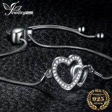Two Heart Love Bracelet 925 Sterling Silver Bracelet Snake Chain Bolo Bracelets For Women Silver 925 Jewelry Making Organizer athenaie 925 sterling silver love snake chain charms bracelet