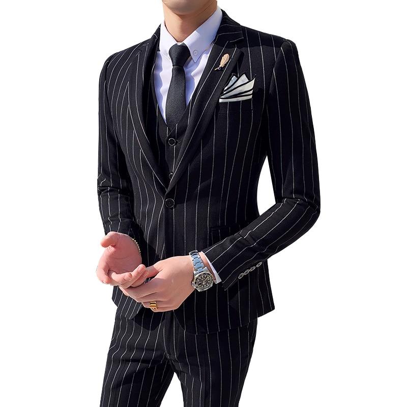 Suits Men's Striped Suit Three-piece Suit (coat + Trousers + Vest) Groom Wedding Dress Men's Single Button Business Casual Suit