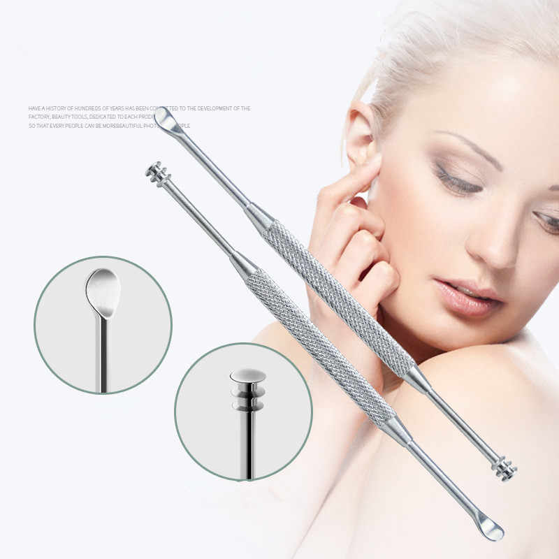 1PC 新ステンレス鋼の皮耳シルバー掘る耳かきを洗浄するためのワックスリムーバーキュレット耳スプーンクリーン健康ケア耳のケアツール