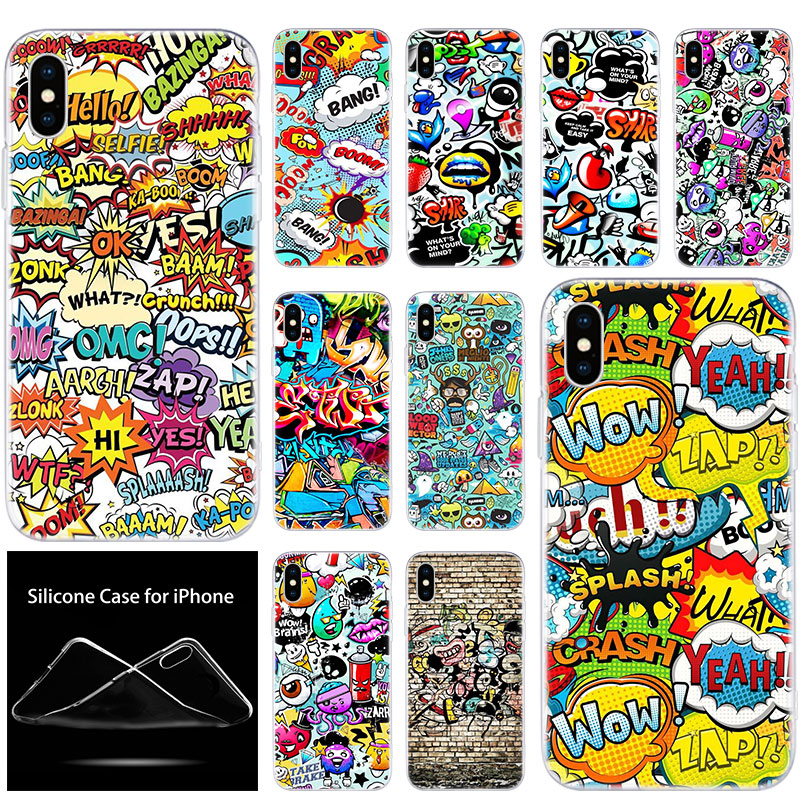Luxus Weichen Silikon Telefon Fall Nette Cartoon Graffiti für Apple <font><b>iPhone</b></font> 11 Pro XS Max X XR <font><b>6</b></font> 6S 7 8 <font><b>Plus</b></font> 5 5S SE Mode Abdeckung image