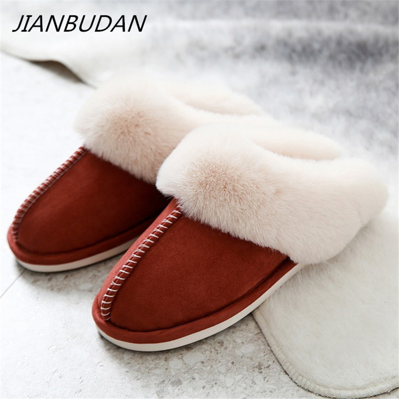 JIANBUDAN Indoor Plush Comfortable Soft Slippers Men And Women Winter Warm Home Shoes Flat Suede Plush Female Cotton Shoes