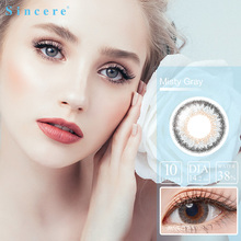 Sincere vision Misty gray 10pcs/box contact lens small Beauty Pupil Colored Contact Lenses for eyes yearly Myopia prescription