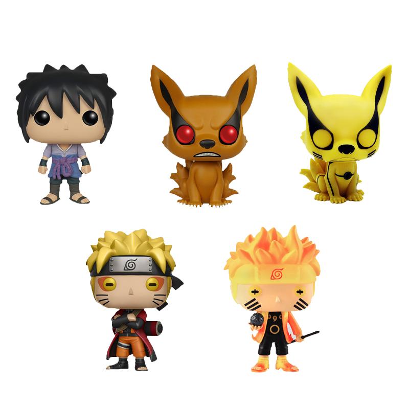 Funko Pop NARUTO Uzumaki Naruto Uchiha Sasuke Kyuubi Wood Leaf Country Of Fire Collection Model PVC Action Figure Kids Toys Gift